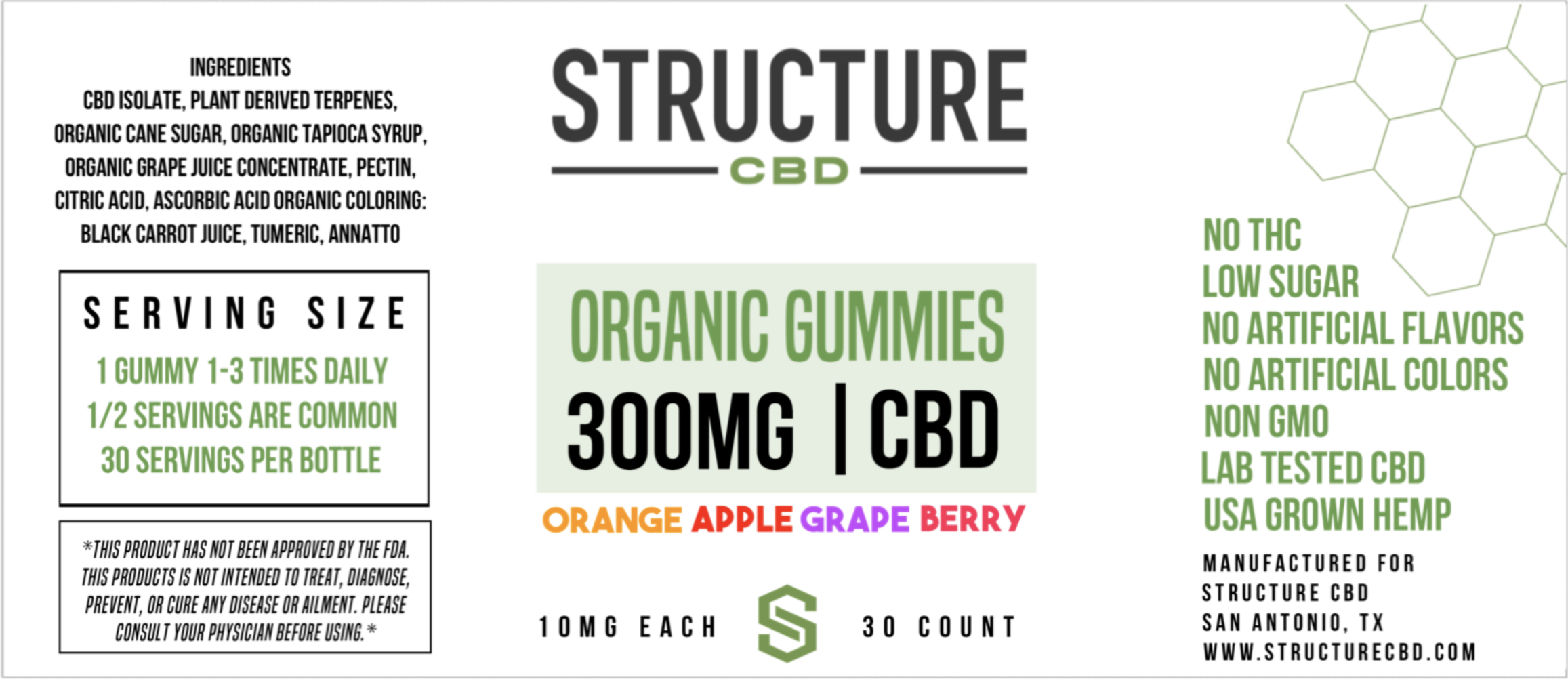 Structure - Infused Organic Fruit Gummies 300MG GUMORG