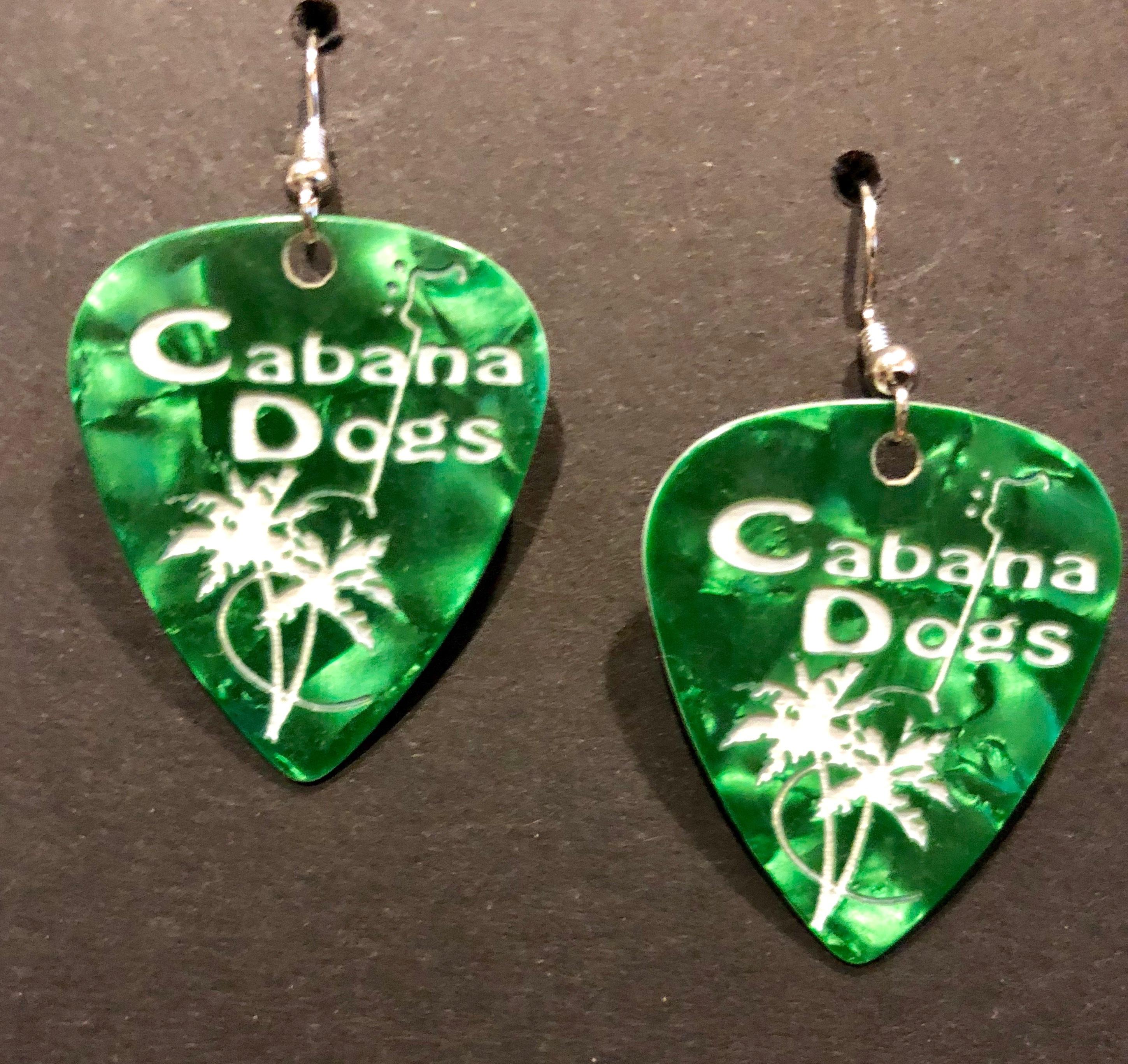 CD Guitar Pic earrings green GPERGR