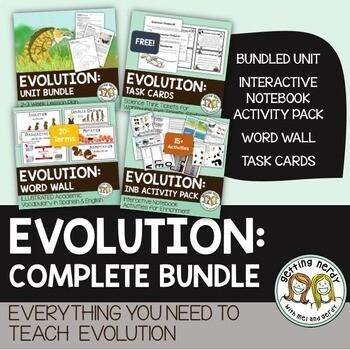 Evolution Complete Bundle - PowerPoint Unit, INB, Task Cards, Word Wall