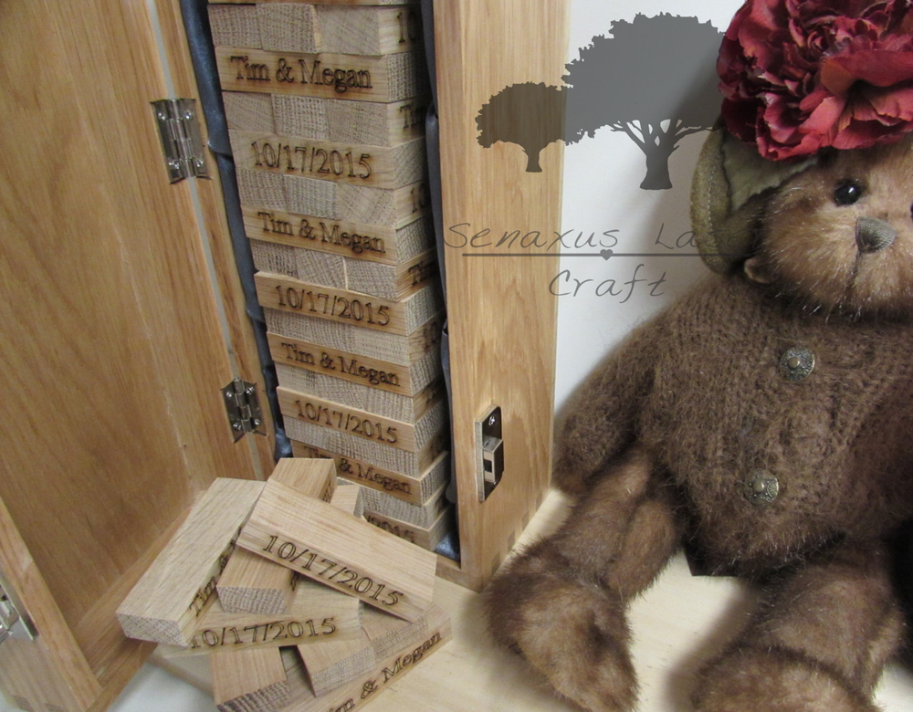 Personalised Oak Block Wedding Guest Book, Jenga Style Game Hand ...