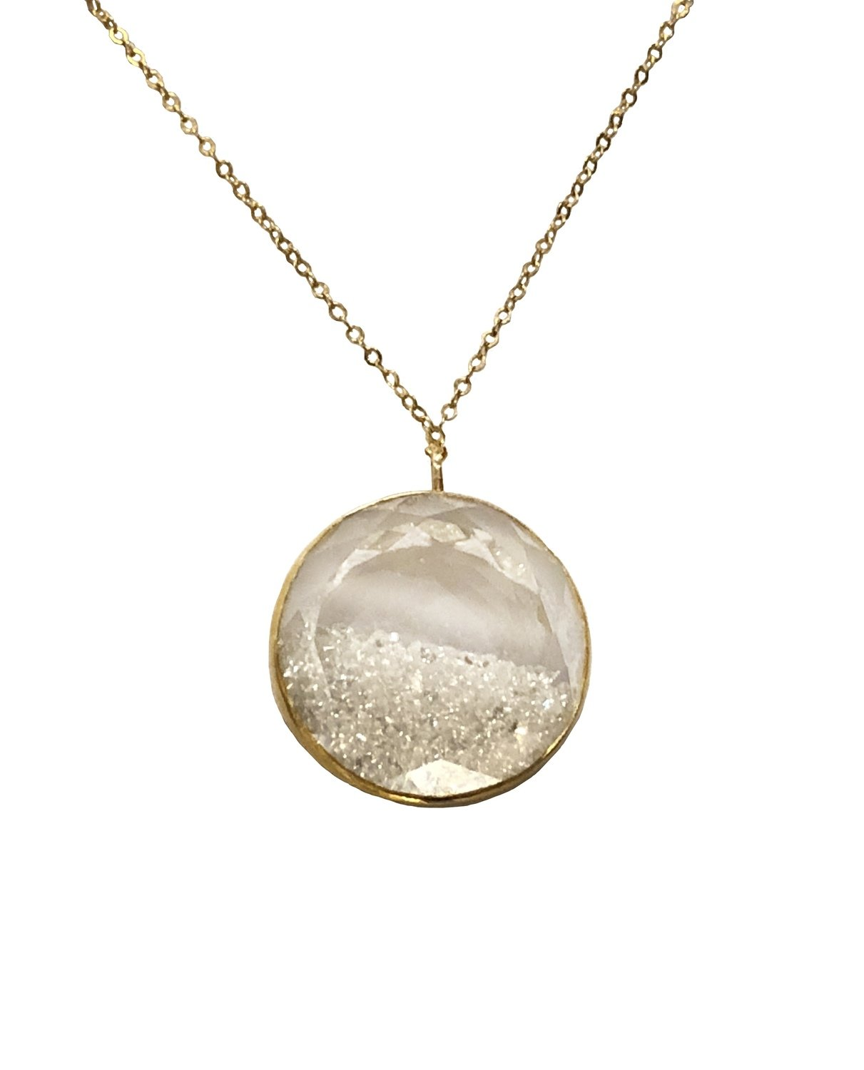 22k Gold Shake Necklace with White Sapphire Shake