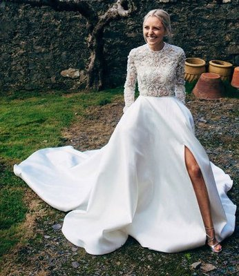308e843dc4d White Long Wedding Dress with Long Sleeves Appiques Flowers