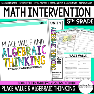 Place Value and Algebraic Thinking Intervention Unit