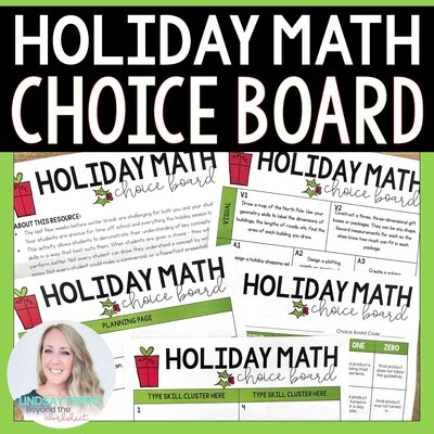 Holiday Math Choice Board
