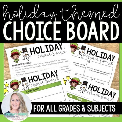 Holiday Choice Board for Any Subject