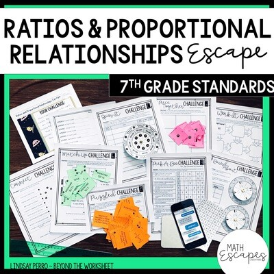 7th Grade Ratios and Proportional Reasoning Escape Room Activity
