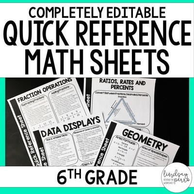 6th Grade Math Quick Reference Sheets