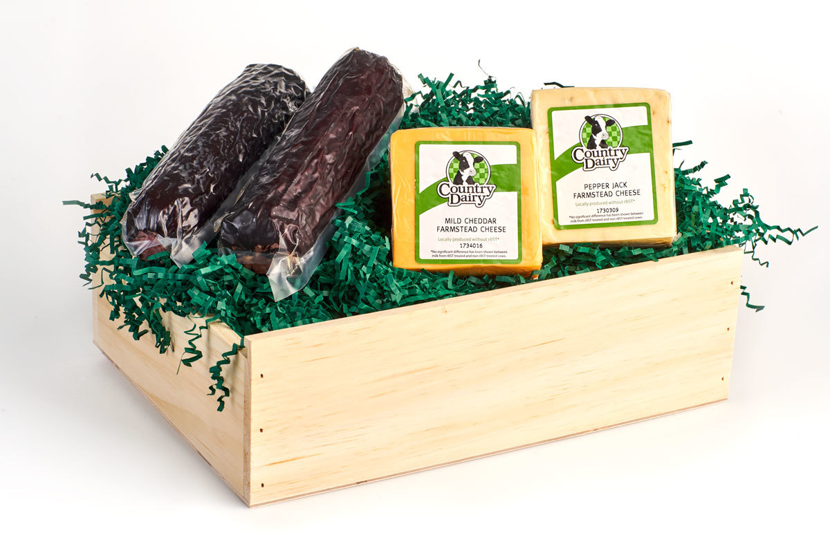 4 lb. Summer Sausage & Cheese in Vintage Wooden Box 00008