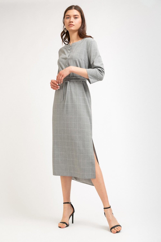 Платье в клетку с поясом