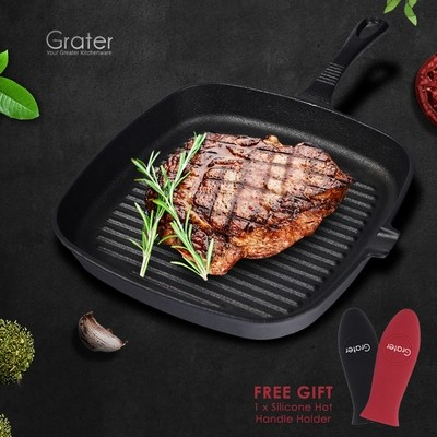Grater 23cm Pre-seasoned Square Cast Iron Grill Pan