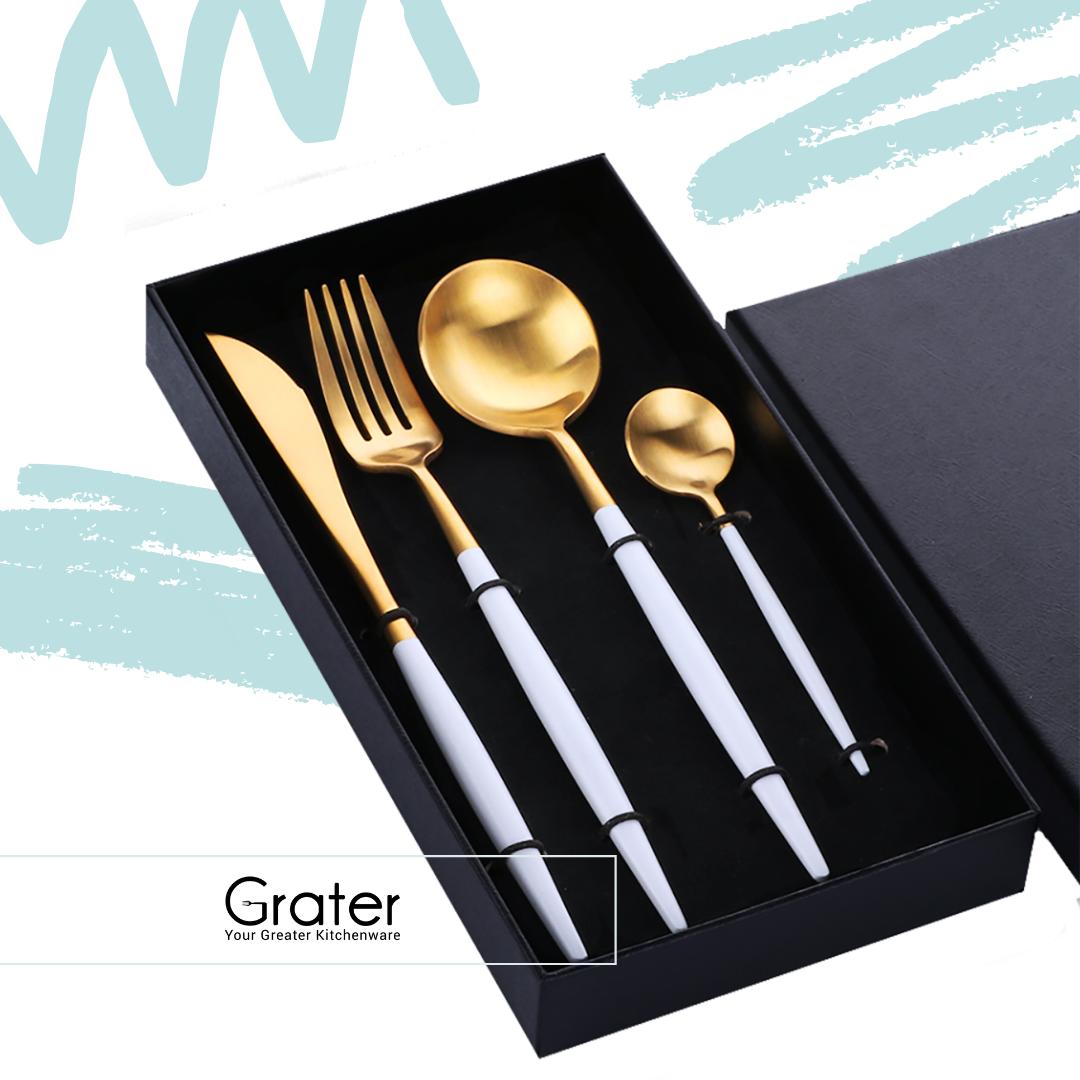 Set of 4 Western Luxury Stainless Steel Gold Flatware Cutlery Set in Box