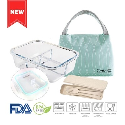[Early Bird] 3 Compartments Glass Food Container Bundle Set