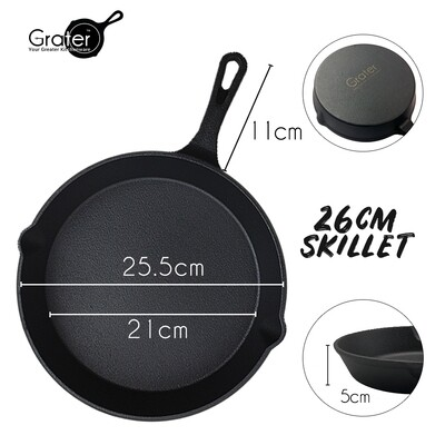 26cm / 10in Pre-Seasoned Cast Iron Skillet Round Pan