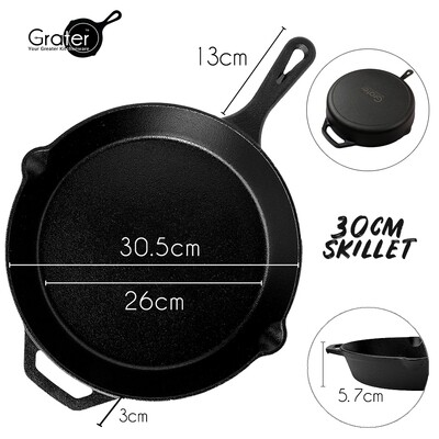 30cm / 12in Pre-Seasoned Cast Iron Skillet Round Pan