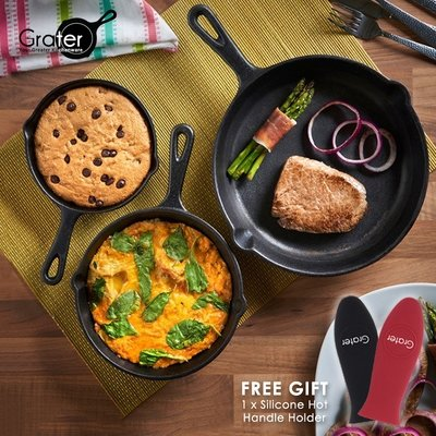 Grater 3 Pieces Pre-Seasoned Cast Iron Skillet Round Pan Set