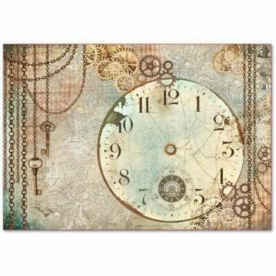 Clockwise Clock -XL Stamperia Rice Paper