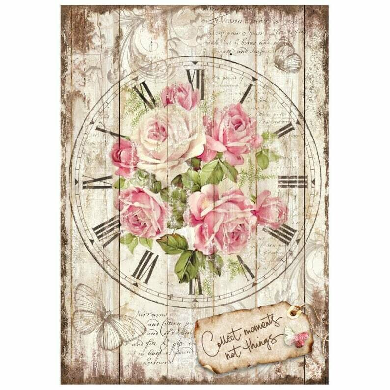 Sweet Time Clock Bouquet - A4 -Stamperia Rice Paper