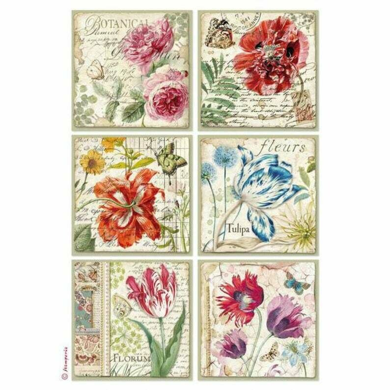 Botanic Flower Cards - A4 -Stamperia Rice Paper