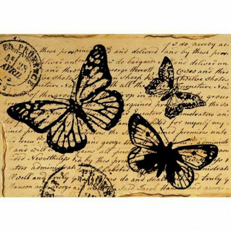 Butterfly With Words - A4 -Stamperia Rice Paper