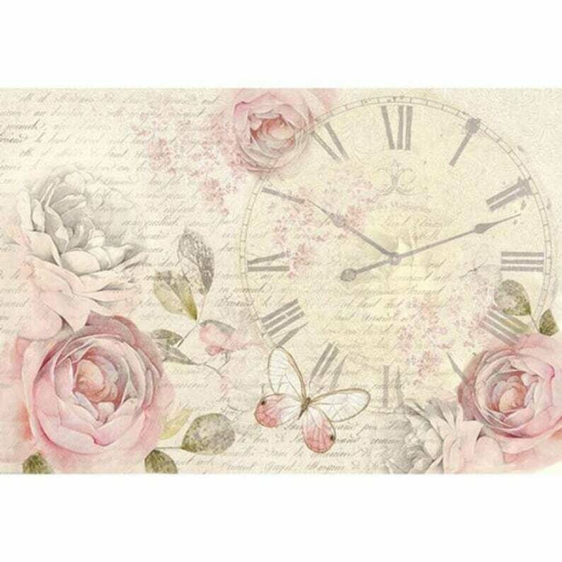 Shabby Rose Clock -XL Stamperia Rice Paper