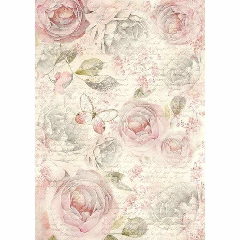 Shabby Roses - A4 -Stamperia Rice Paper