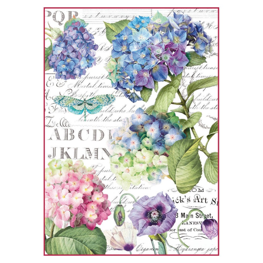 Hortensia and Dragonfly - A4 -Stamperia Rice Paper