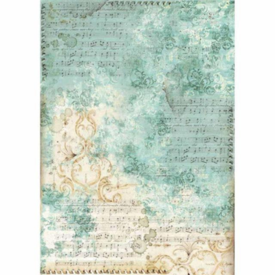 Musica Scores with Turquoise Background - A3 -Stamperia Rice Paper