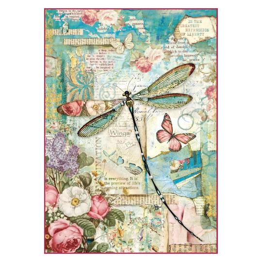 Wonderland Dragonfly - A4 -Stamperia Rice Paper