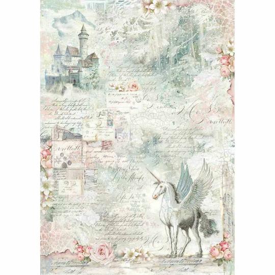 Unicorn Fantasy - A3 -Stamperia Rice Paper