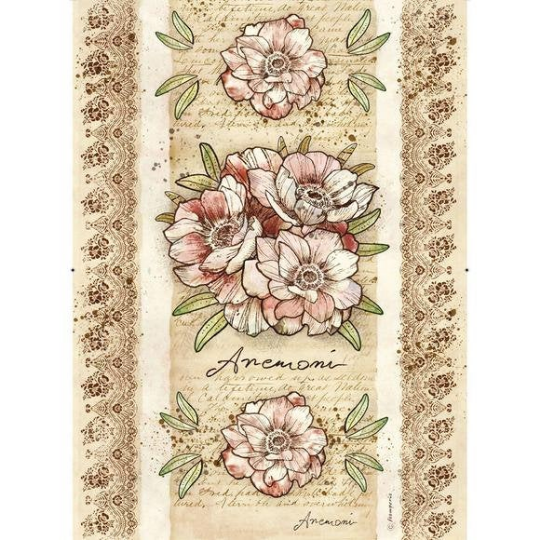 Voyages Flowers by Donatella Anemone - A3 -Stamperia Rice Paper
