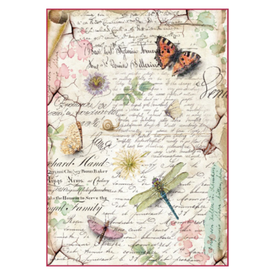 Dragonflies and Butterflies - A4 -Stamperia Rice Paper