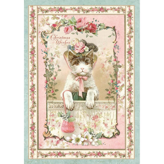 Pink Christmas Kitten - A4 -Stamperia Rice Paper