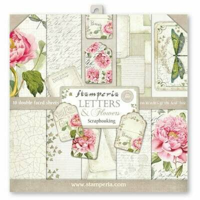 Stamperia Letters and Flowers - 12 x 12 Paper Pad