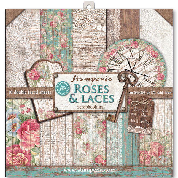 Stamperia Roses, Lace and Wood - 12 x 12 Paper Pad