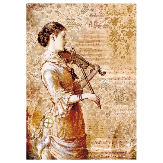 Steampunk Woman w/Violin - A4 -Stamperia Rice Paper