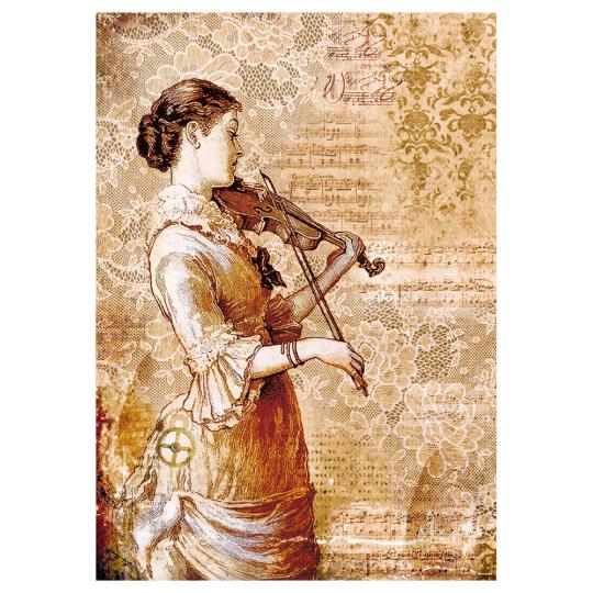 Steampunk Woman w/Violin - A4 -Stamperia Rice Paper
