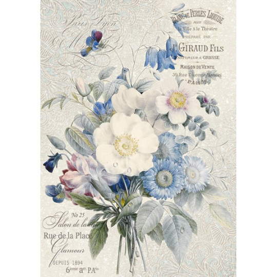 Old England Bouquet - A4 -Stamperia Rice Paper