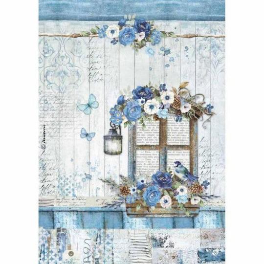 Blue Land Window - A4 -Stamperia Rice Paper