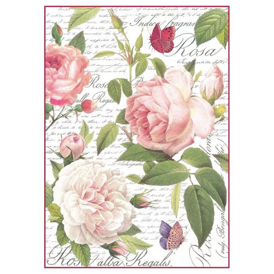 Vintage Rose - A4 -Stamperia Rice Paper