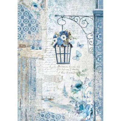 Blue Land Lamp - A4 -Stamperia Rice Paper
