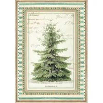 Winter Botanic Christmas Tree - A4 -Stamperia Rice Paper
