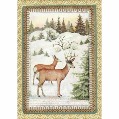 Winter Botanic Reindeer - A4 -Stamperia Rice Paper