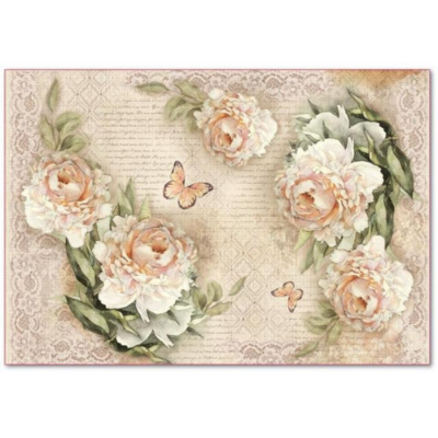 Peony and Laces - XL Stamperia Rice Paper