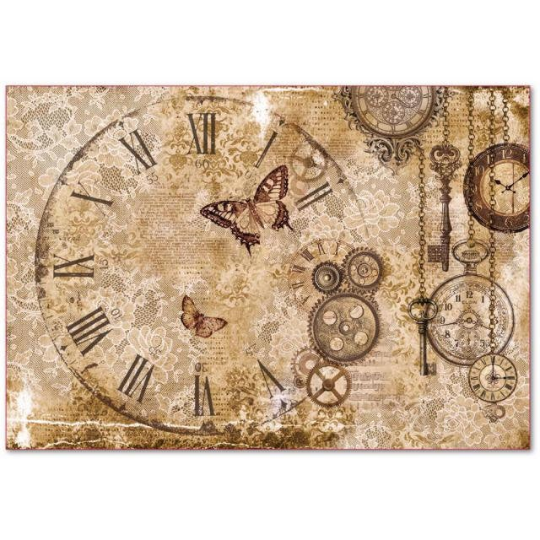 Steampunk Gears, Laces, Butterflies - XL Stamperia Rice Paper