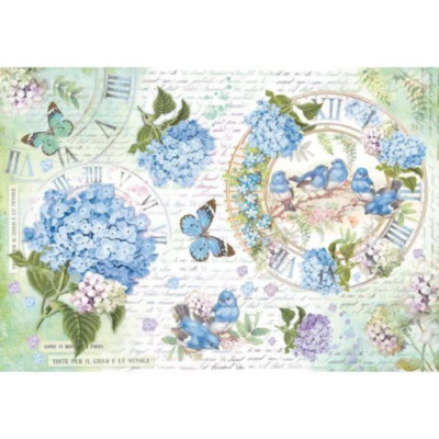 Hydrangea and Birds - XL Stamperia Rice Paper