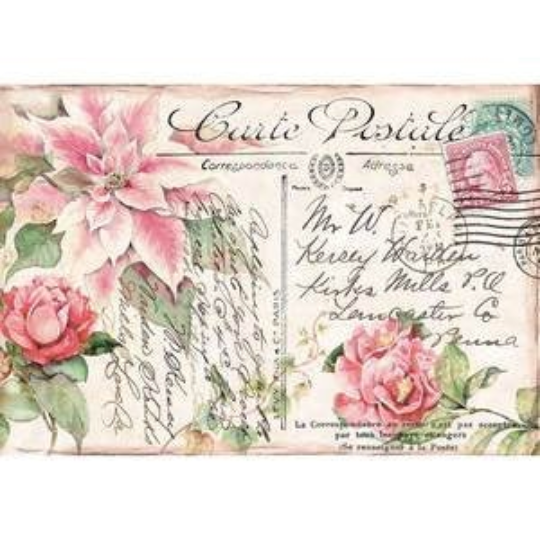 Pink Poinsettia  - XL Stamperia Rice Paper