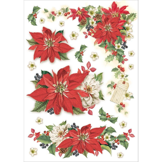 Christmas Poinsettia - A4 -Stamperia Rice Paper