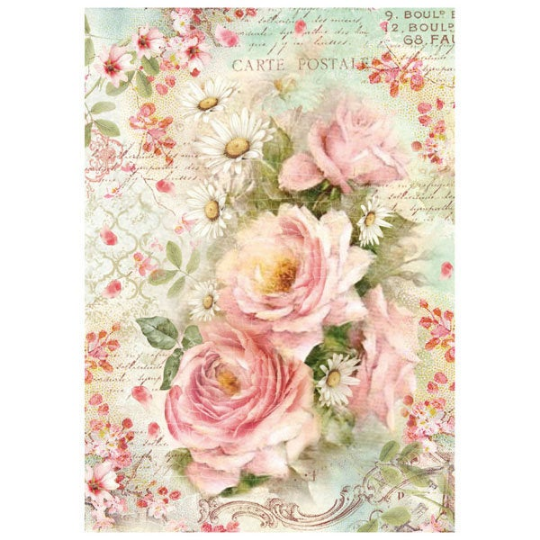Vintage Roses and Daisies - A4 -Stamperia Rice Paper