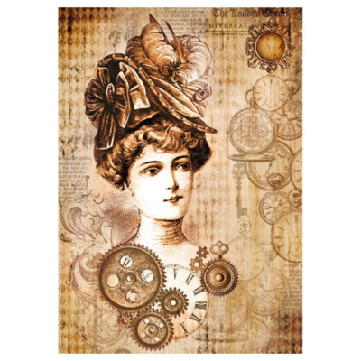 Steampunk Woman with Hat - A4 -Stamperia Rice Paper