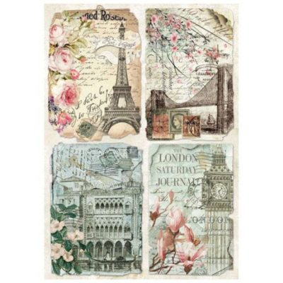 Vintage Postcards - A4 -Stamperia Rice Paper